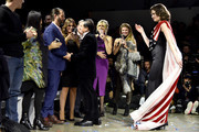 Designer Zang Toi (R) greets  Donald Trump Jr. at the Zang Toi front row during New York Fashion Week: The Shows at Gallery II at Spring Studios on February 13, 2019 in New York City.