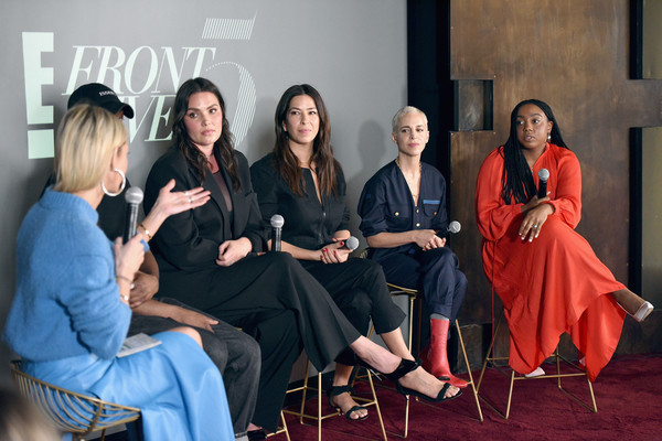 IMG NYFW: The Shows 2019 PARTNERS - February 7 [the shows 2019,the talks: meet the front five,red,event,fashion,conversation,photography,sitting,fashion design,performance,zanna roberts rassi,lindsay peoples wagner,candice huffine,rebecca minkoff,romy soleimani,l-r,e,nyfw]