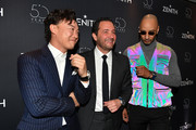 (L-R) Singer Eason Chan, Julien Tornare, CEO of Zenith, and music producer Swizz Beatz attend the Zenith press conference during the Baselworld 2019 watch trade fair on March 20, 2019 in Basel, Switzerland. The Baselworld trade show runs from March 21-26.