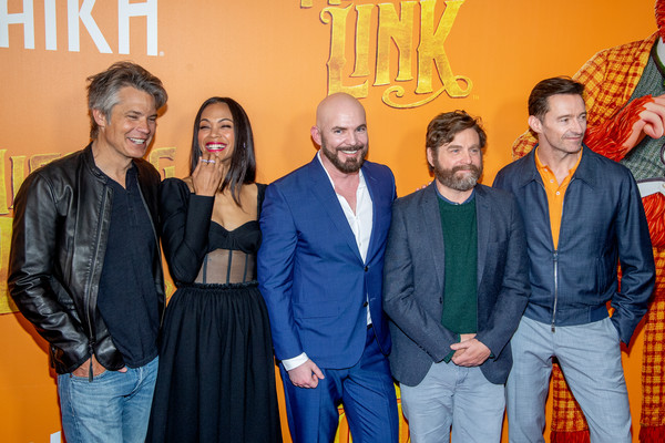 'Missing Link' New York Premiere [missing link,people,event,yellow,fun,premiere,ceremony,fashion design,team,family,performance,timothy olyphant,hugh jackman,zach galifianakis,chris butler,zoe saldana,l-r,new york,premiere,new york premiere]