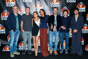 "Paul Wernick, Ruben Fleischer, Zoey Deutch, Rosario Dawson, Rhett Reese, Jesse Eisenberg and Avan Jogia attend ""Zombieland 2"" Panel and Surprise Screening at Los Angeles Convention Center on October 12, 2019 in Los Angeles, California."