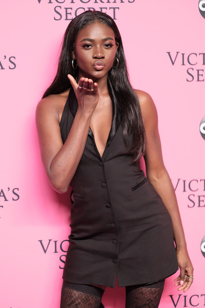 Victoria's Secret Viewing Party - Arrivals [clothing,pink,hairstyle,fashion,long hair,dress,model,muscle,black hair,little black dress,arrivals,zuri tibby,new york city,victorias secret,viewing party,victorias secret viewing party,spring studios]