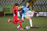 Jill Scott of Manchester City closes down Alena Nurgalieva of Zvezda 2005 during the UEFA Womens Champions League match between Zvezda 2005 and Manchester City Ladies at Zvezda Stadium on October 12, 2016 in Perm, Russia.