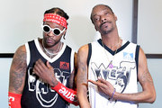 2 Chainz (L) and Snoop Dogg pose for a portrait during a press conference at adidas Creates 747 Warehouse St., an event in basketball culture, on February 16, 2018 in Los Angeles, California.
