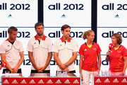 (FREE FOR EDITORIAL USE) Max Mueller, Moritz Fuerste, Christopher Zeller, Fanny Rinne and Natascha Keller of the German hockey team at the adidas Olympic Media Lounge at Westfield Stratford City on July 26, 2012 in London, England.