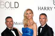 Designers Dean Caten and Dan Caten and model Anja Rubik (C) attend amfAR's 22nd Cinema Against AIDS Gala, Presented By Bold Films And Harry Winston at Hotel du Cap-Eden-Roc on May 21, 2015 in Cap d'Antibes, France.