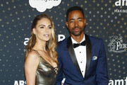 Jay Ellis (R) and Nina Senicar attend the amfAR Inaugural Celebrity Poker Tournament on November 17, 2018 in San Francisco, California.