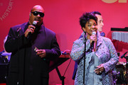 """Stevie Wonder and Gladys Knight perform """"That's What Friends Are For"""" at the amfAR New York Gala to kick off Fall 2011 Fashion Week at Cipriani Wall Street on February 9, 2011 in New York City."""