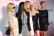 (L-R) Paris Hilton, Jasmine Tookes, Romee Strijd, Elsa Hosk, and Josephine Skriver attend boohoo x All That Glitters Launch Party on November 07, 2019 in Los Angeles, California.