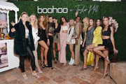 (L-R) Charly Jordan, Iskra Lawrence, Kara del Toro, Jessica Serfaty, Mackinley Hill, Taylor Hill, Logan Hill, Jasmine Tookes, Stella Maxwell, Erika Costell, Kalani Hilliker and Lexi Wood attend boohoo x Taylor Hill Tea Party at The Beverly Hills Hotel on October 13, 2019 in Beverly Hills, California.