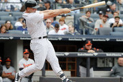 Matt Holliday #17 of the New York Yankees hits a home run in the first inning in an MLB baseball game against the Baltimore Orioles on April 30, 2017 at Yankee Stadium in the Bronx borough of New York City. Baltimore won 7-4..