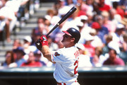 Jim Thome #25 of the Cleveland Indians bats during an MLB game at Jacobs Field in Cleveland, Ohio. Thome played for the Indians from 1991-2002.