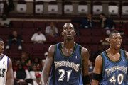 Kevin Garnett #21 of the Minnesota Timberwolves in action during a preseason game against the Milwaukee Bucks at Value City Arena on October 9, 2003 in Columbus, Ohio. NOTE TO USER: User expressly acknowledges and agrees that, by downloading and or using the photograph, User is consenting to the terms and conditions of the Getty Images License Agreement.