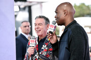 Radio personalities Elvis Duran (L) and Big Boy pose in the broadcast room during the iHeartRadio Music Awards at The Forum on April 3, 2016 in Inglewood, California.