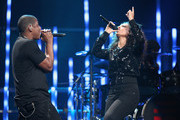 Rapper Jay-Z (L) and singer Alicia Keys perform onstage at the iHeartRadio Music Festival held at the MGM Grand Garden Arena on September 23, 2011 in Las Vegas, Nevada.
