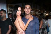 """Model Jayde Nicole (L) and Tosh Berman attend WE tv's premiere of """"Kendra On Top"""" and """"Driven To Love"""" at Estrella Sunset on March 31, 2016 in West Hollywood, California."""