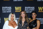 (L-R) Aubrey O'Day, Farrah Abraham and Laura Govan attend WE tv celebrates the premiere of 'Marriage Boot Camp' at SkyBar at the Mondrian Los Angeles on October 10, 2019 in West Hollywood, California.