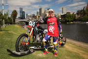 Australian FMX rider Robbie Maddison celebrates after riding his motorbike along the surface of the Yarra River on December 22, 2016 in Melbourne, Australia. The xXxTreme Yarra River Ride is inspired by a major stunt from the film xXx: Return of Xander Cage which Robbie was the lead stunt rider. xXx: Return of Xander Cage will be in Australian cinemas from January 19, 2017.