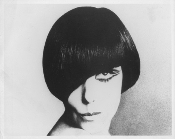 "A classic shot of Peggy Moffitt modeling her signature Vidal Sassoon ""Five"