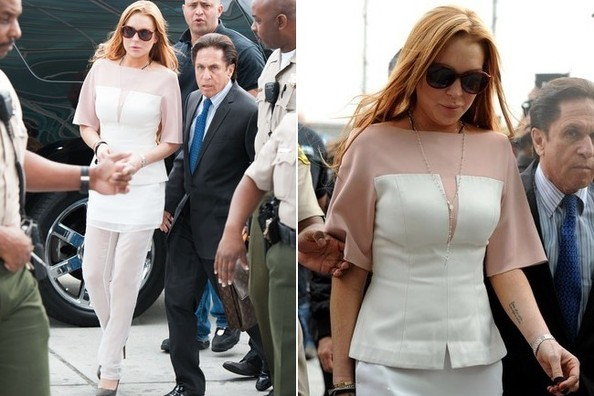 Lindsay Lohan's Court Attire: See-Through Pants, Rosaries, and Lots of Glitter