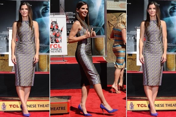 Found: Sandra Bullock's Pretty Pencil Dress and Purple Pumps