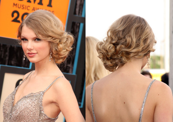 Wedding Updo Idea: Taylor Swift's Sweet Curly Side-Bun