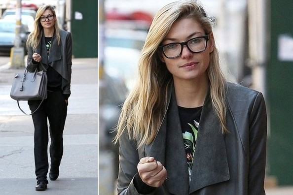 Jessica Hart's Drapey Leather Street Style