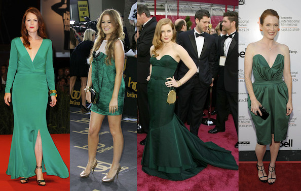 Julianne Moore, Isla Fisher, Amy Adams, And Julianne Moore. Getty Images.  Emerald Green Prom Dresses ...