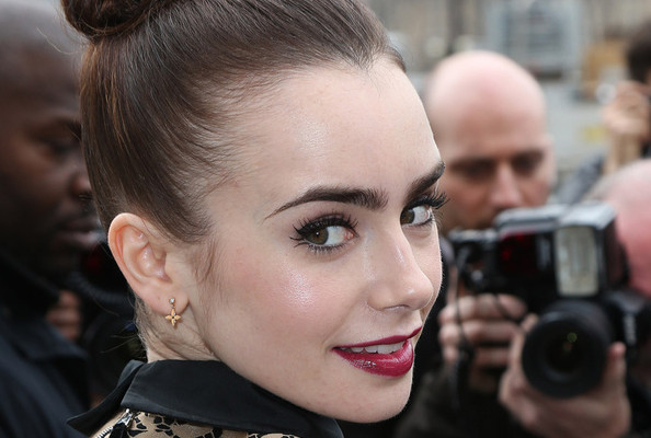 Lily Collins Is a Doll in a Gold Mini