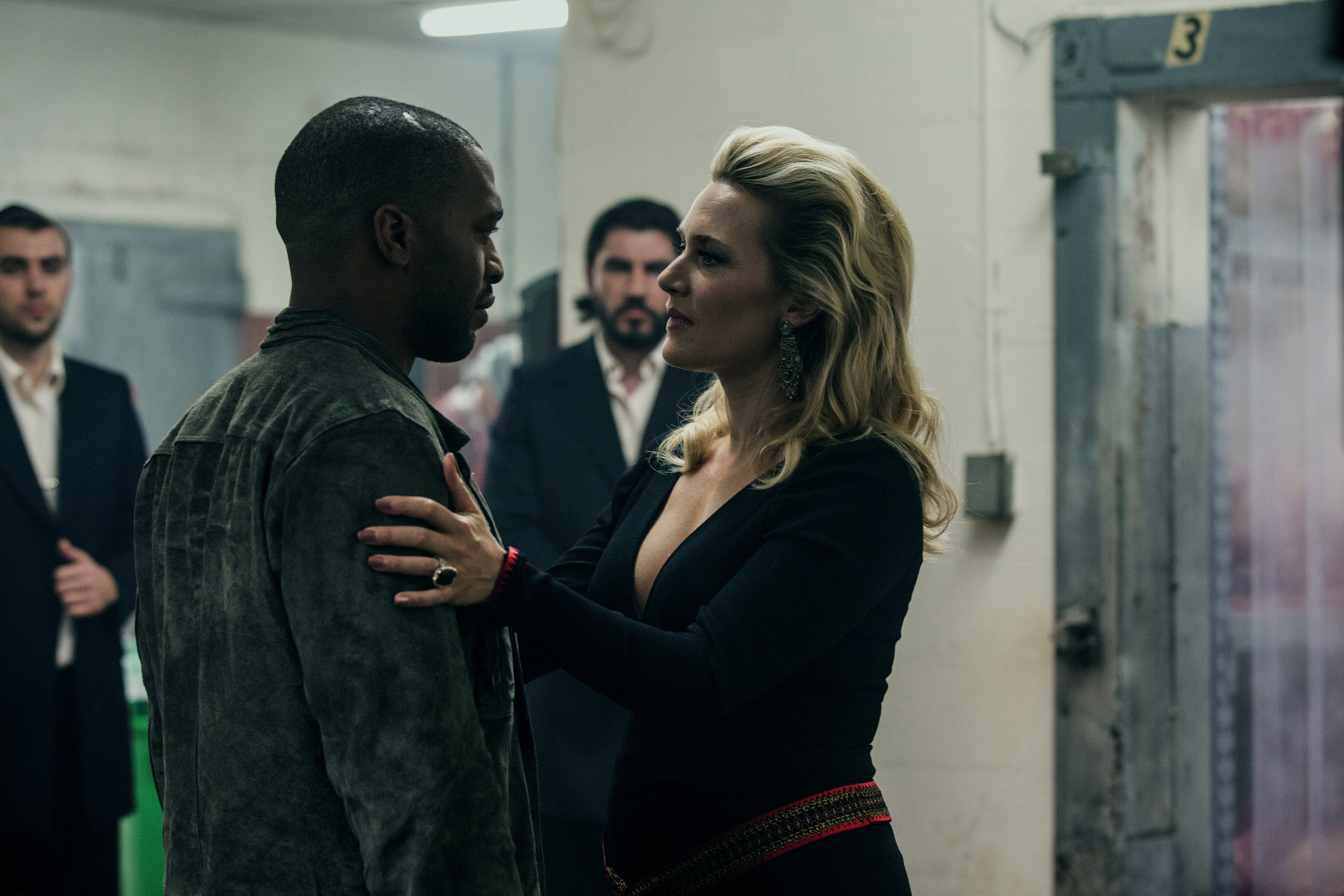 Chiwetel Ejiofor and Kate Winslet in Triple 9. (Open Road)
