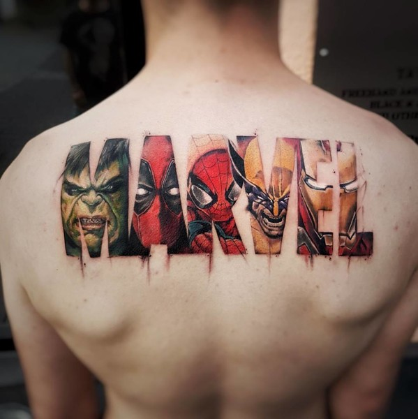 the marvel logo marvel tattoos that ll make you want to be a