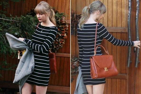 Cute Outfit Idea Alert: Taylor Swift in Stripes and Knee-Highs