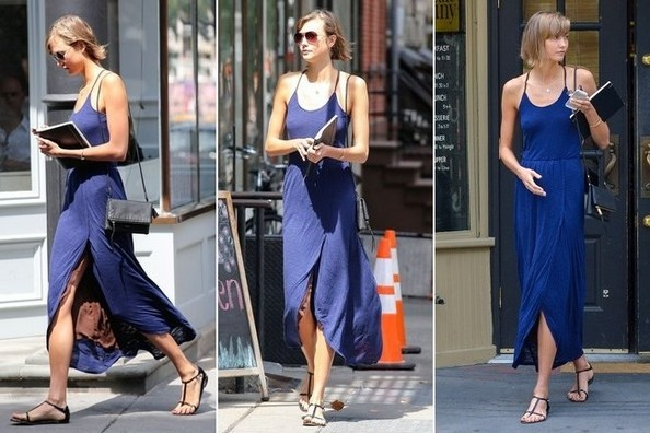 Karlie Kloss Nails Model Off-Duty Glam in This Navy Number