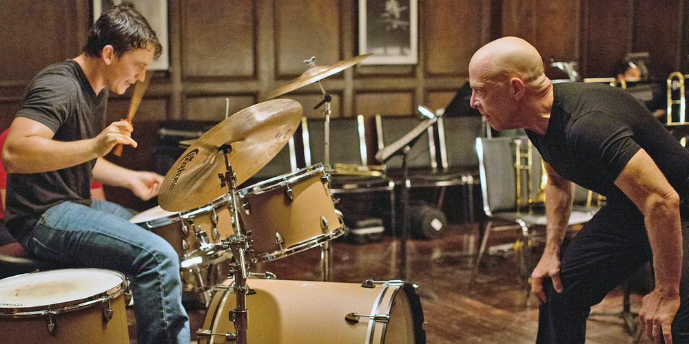 Miles Teller plays Andrew Neiman and J.K. Simmons plays Terence Fletcher in 'Whiplash.'