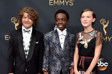 'Stranger Things' Stars Gaten Matarazzo, Caleb McLaughlin, and Millie Bobby Brown Hit Their First Emmys Red Carpet