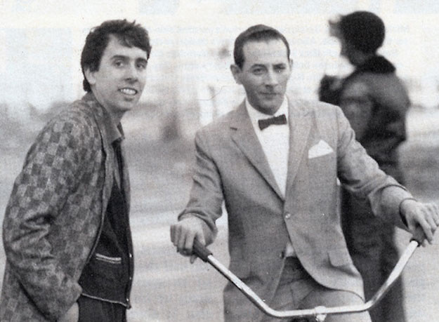 Tim Burton and Paul Reubens on the set of Pee-wee's Big Adventure. (Warner Brothers)