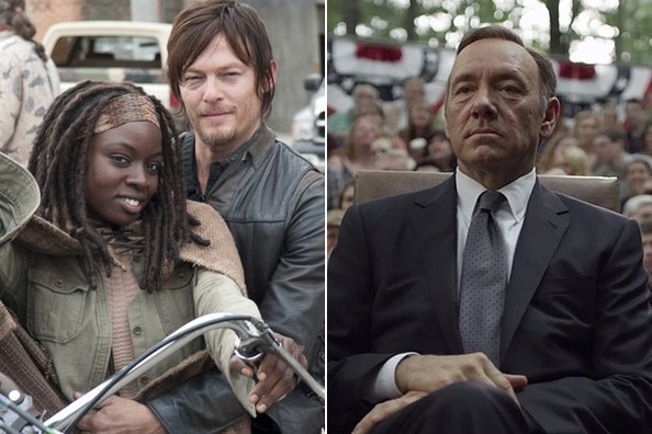 (L-R) Danai Gurira and Norman Reedus on the set of The Walking Dead, Kevin Spacey as Frank Underwood on House of Cards.