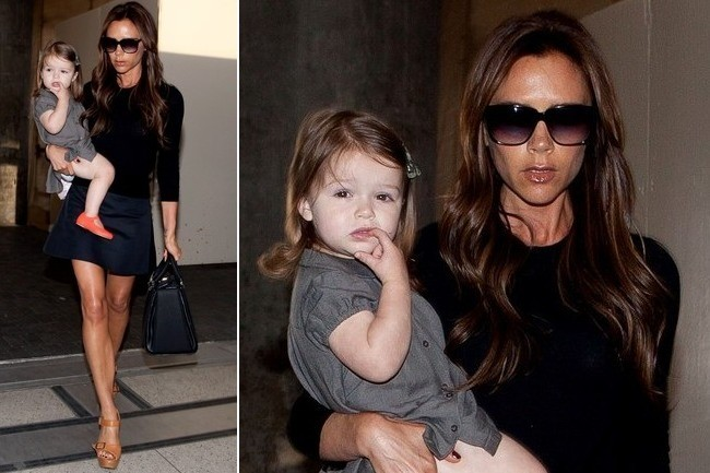 Victoria Beckham Travels in a Miniskirt and Platforms