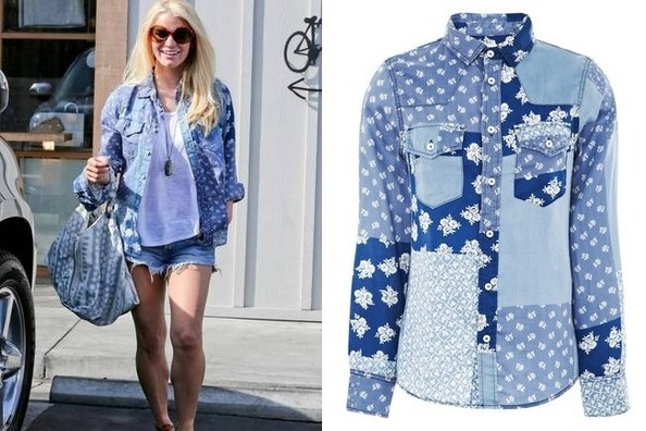 Found: Jessica Simpson's Denim Patchwork Button-Down