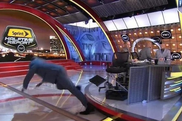 Shaquille O'Neal Takes a Tumble on Live Television