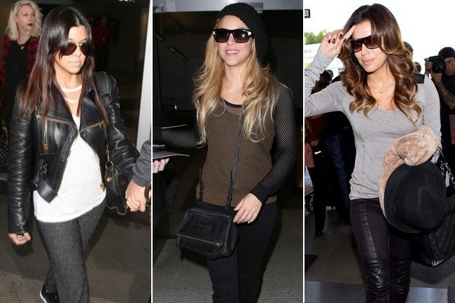 Who Wore the Most Fly Airport Outfit: Kourtney, Shakira or Eva?