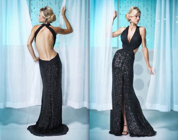 Most Revealing Prom Dresses Sequined chiffon gown.