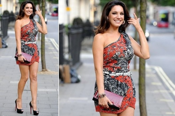 Get the Look - Kelly Brook's Black and Red One-Shoulder Mini-Dress is On Sale!