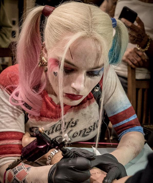 Margot Robbie Gives 'Suicide Squad' Cast Tattoos Dressed as Harley Quinn