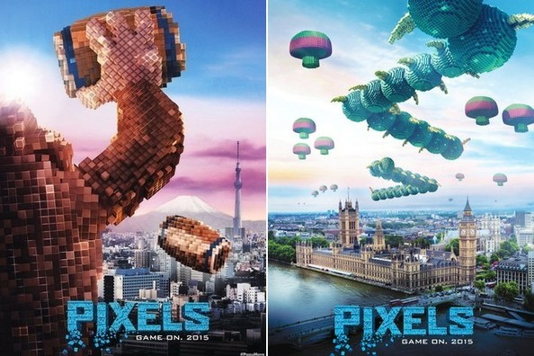 retro video games destroy cities in the new pixels