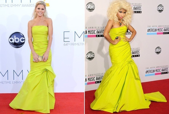 Julie Bowen vs. Nicki Minaj in Monique Lhuillier