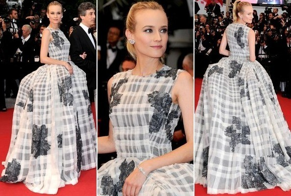 Look of the Day: Diane Kruger's Windowpane Ball Gown