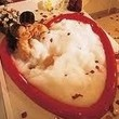 A heart shaped bathtub