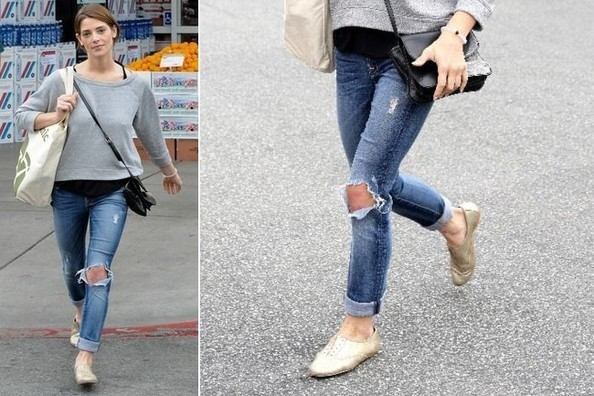 Found: Ashley Greene's Metallic Gold Oxfords