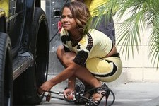Christina Milian Does Car Maintenance in Heels